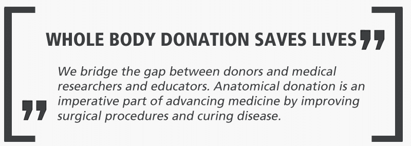 Whole body donation saves lives: We bridge the gap between donors and medical researchers and educators.